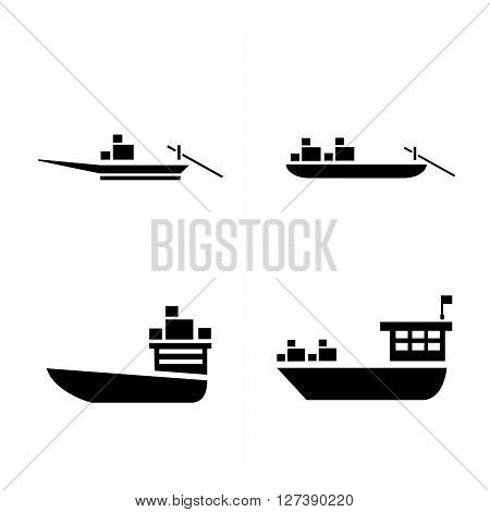 transport boat and small boat icon support vector design eps 10.