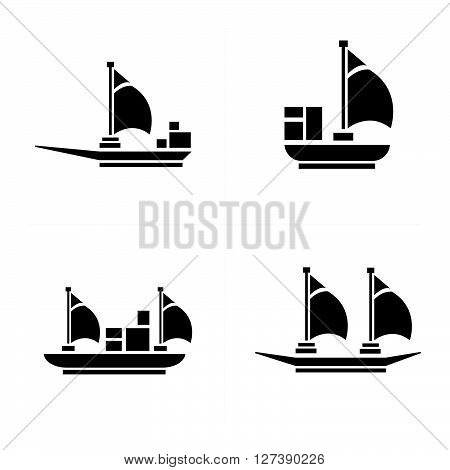 sailboat and Transport Icons support vector design eps 10.