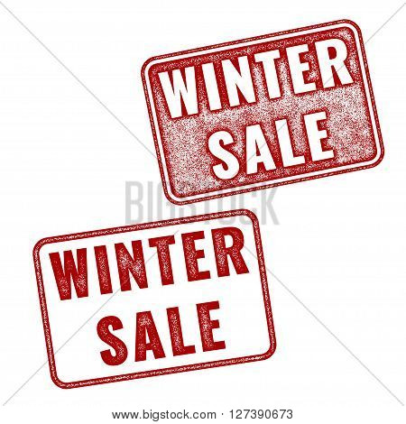 Two red realistic vector Winter Sale stamps isolated on white background. Set of imprints announcement of annual fair