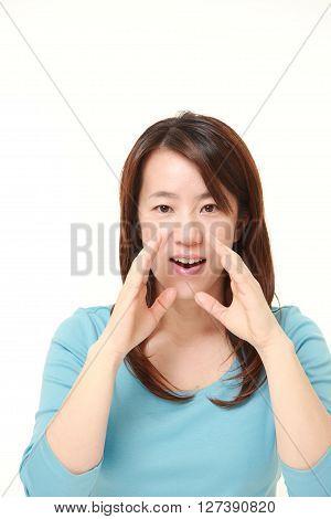 Japanese woman shout something on white background