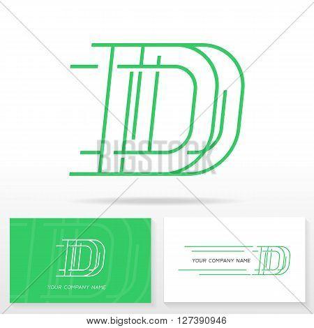 Letter D logo icon design template elements. Business card templates.