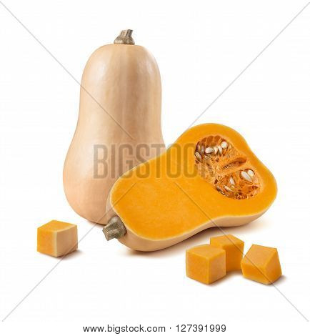 Butternut pumpkin whole half pieces isolated on white background as package design element