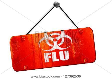 Influenza virus, 3D rendering, red grunge vintage sign