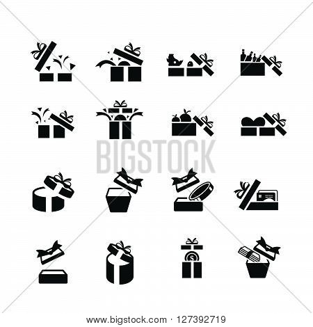 Set Black Gift Icons, Open Gift Box