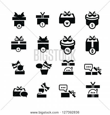 Set Black Gift And Bubble Talk Icons