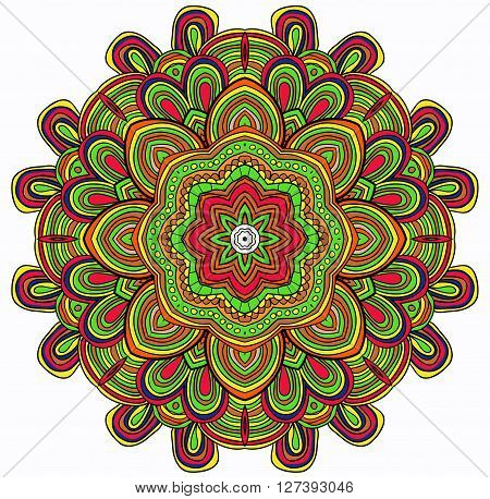 Colored round pattern with many details. Can be used as card, backgroung wall decor.