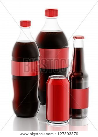 Soda bottles and can with red label isolated on white background.