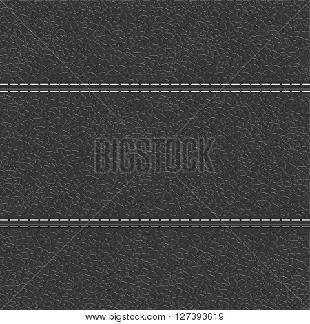 Leather background with white stitching. Vector illustration
