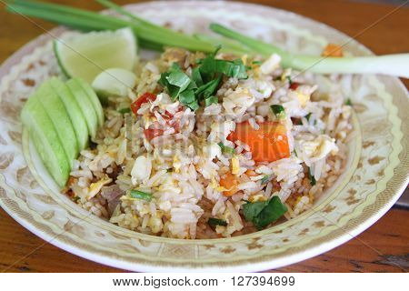 Thai food fried rice., Thai fried rice with meat at restaurant.
