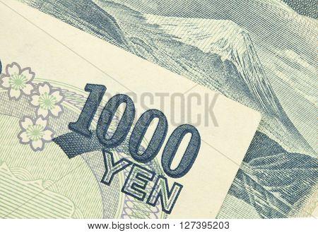 japan money 1000 yen bills for background.