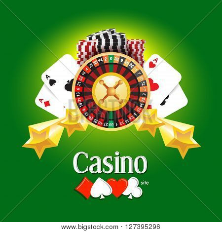 casino american roulette money cards game green background