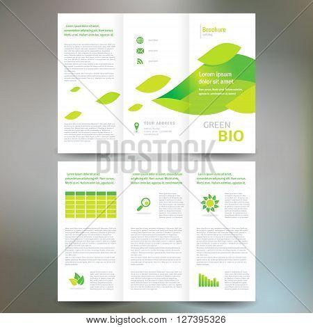 brochure folder leaflet bio eco green leaf nature abstract element white color background