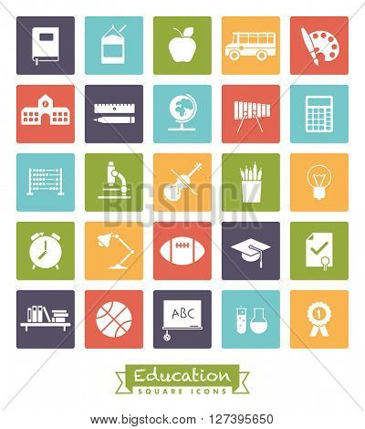 school and education related square colored vector icons collection