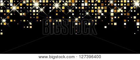 Black abstract banner with squares. Vector illustration.