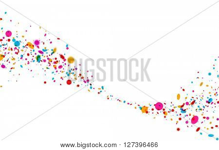 White paper background with wave of color drops. Vector illustration.