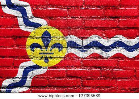 Flag Of St. Louis, Missouri, Painted On Brick Wall