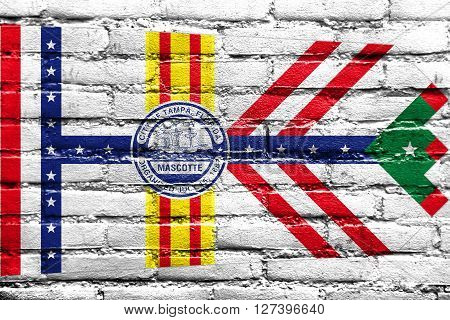 Flag Of Tampa, Florida, Painted On Brick Wall