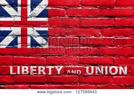 Flag Of Taunton, Massachusetts, Painted On Brick Wall