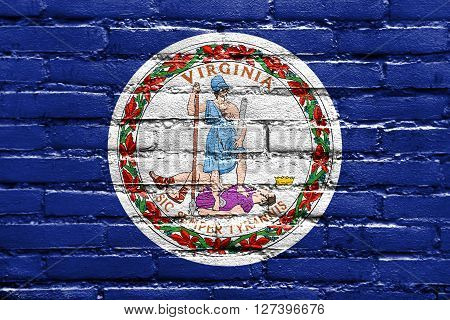Flag Of The Commonwealth Of Virginia, Painted On Brick Wall