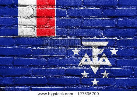 Flag Of The French Southern And Antarctic Lands, Painted On Brick Wall