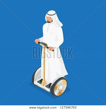 Arabic man on self-balancing electric scooter. 3d flat isometric vector illustration. Electric scooters, self balancing electric skateboards, electric monocicles