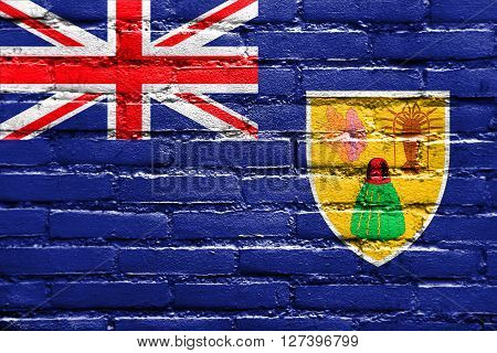 Flag Of Turks And Caicos Islands, Painted On Brick Wall