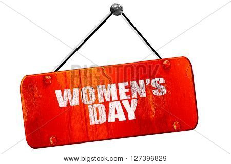 women's day, 3D rendering, red grunge vintage sign