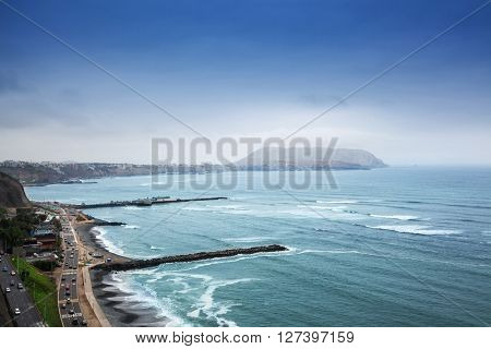 coastline and coastal road in Lima