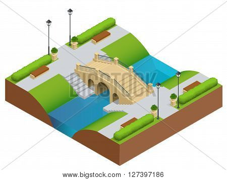 Stone bridge over river. Romantic bridge stone in park. Flat vector landscape with a picture of the nature. Place for rest and walks. Flat 3d vector isometric illustration