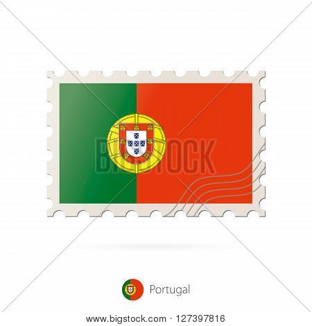 Postage Stamp With The Image Of Portugal Flag.
