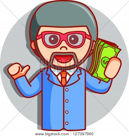 beard business man showing money  .eps 10 vector illustration flat design