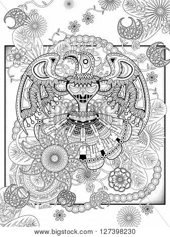 mysterious totem coloring page with floral elements