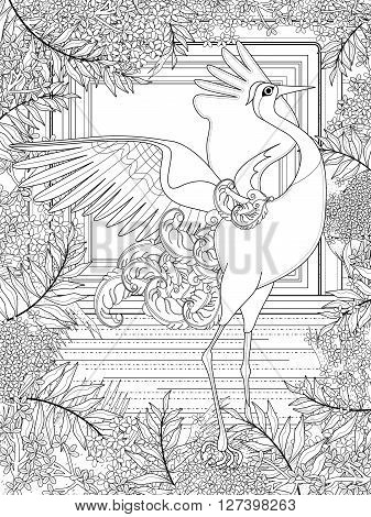 dancing crane adult coloring page with floral elements