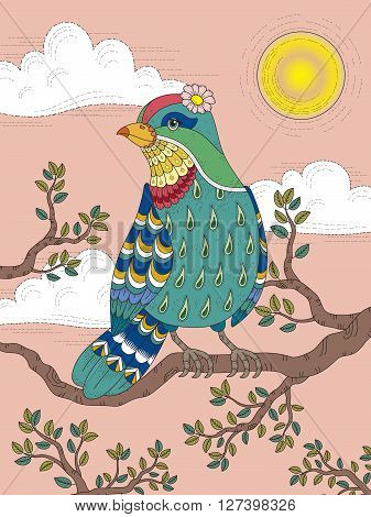 Adult Coloring Page With Lovely Lady Bird
