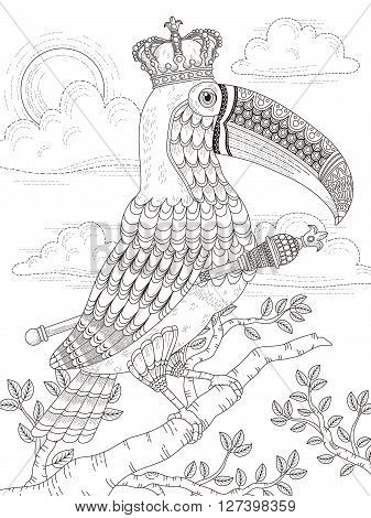 adult coloring page with solemn king toucan