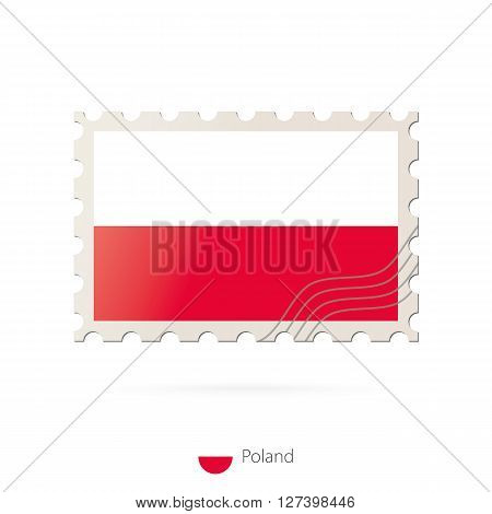 Postage Stamp With The Image Of Poland Flag.