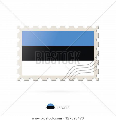 Postage Stamp With The Image Of Estonia Flag.
