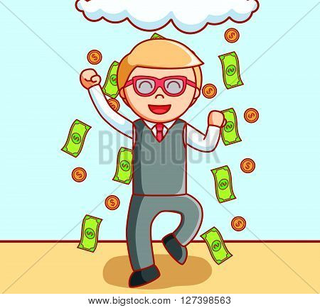 Business man rain money .EPS10 editable vector illustration design