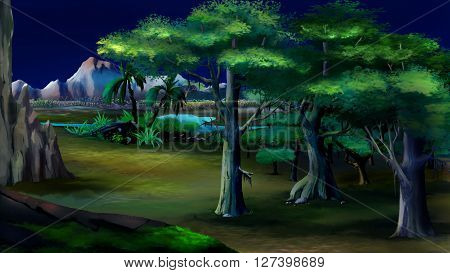 Acacia trees in a African summer night with mountains on background.