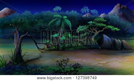 African bush in a summer night. Illustration