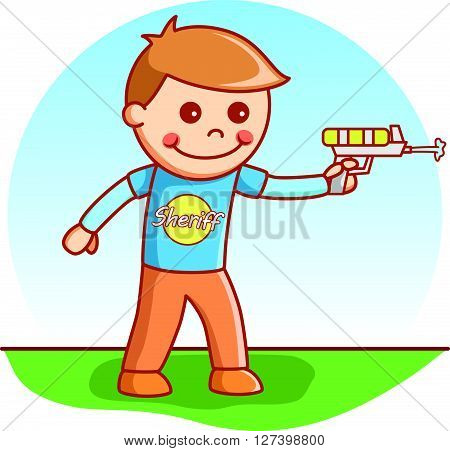 Boy shooting doodle .EPS10 editable vector illustration design