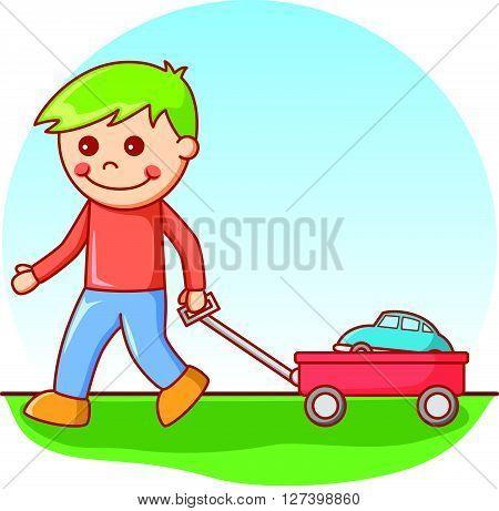 Boy pulling car .EPS10 editable vector illustration design