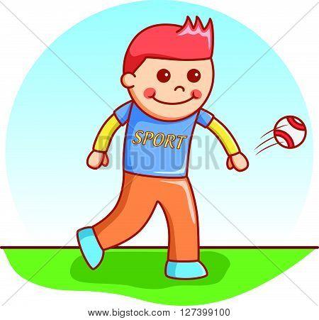 boy throwing ball doodle cartoon .EPS10 editable vector illustration design