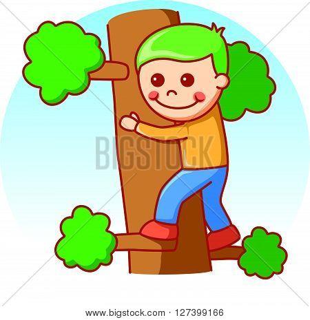 Boy climbing doodle cartoon vector .EPS10 editable vector illustration design