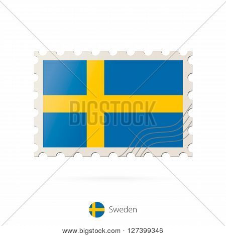 Postage Stamp With The Image Of Sweden Flag.