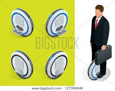 bussiness man on One-wheeled Self-balancing electric scooter vector isometric illustrations. Intelligent and fashionable personal transportation tool with interactive function.