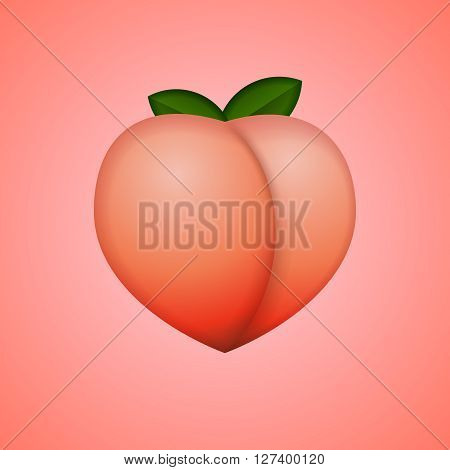 Heart-shaped peach, whole fruit, isolated background, vector illustration.