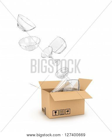 glassware falls in a cardboard box isolated on white