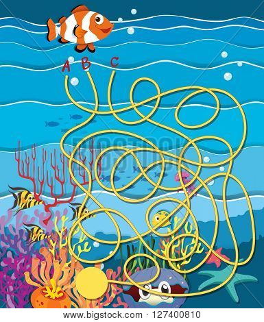 Maze game with fish and coral reef illustration