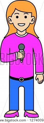 Singer doodle cartoon .Eps 10 editable vector Illustration design